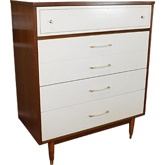 Mid-Century Modern 1950s Formica Top Walnut & White 4 Drawer Bedroom Chest