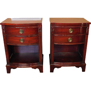 Pair Mahogany Traditional 2 Drawer Open Bottom Bedroom Night Table Stands 1960s