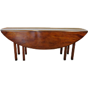 Fantastic Wood & Hogan Custom Ordered Solid Mahogany English Tavern Oval Drop Leaf Dining Table