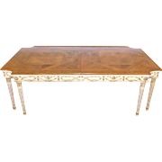 Large EJ Victor Newport Mansions Regency Style Inlaid Walnut Dining Room Table w/ 2 Leaves
