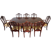 Drexel Heritage Portraits Collection Robinson Banded Mahogany Dining Room Table w/ 8 Spencer Chairs