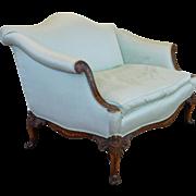 Baker Furniture Inlaid Mahogany Sheraton Style Upholstered Camel Back Loveseat
