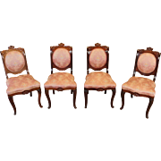 Fine Set Of 4 Antique American Empire Period Rosewood Side Chairs c1860