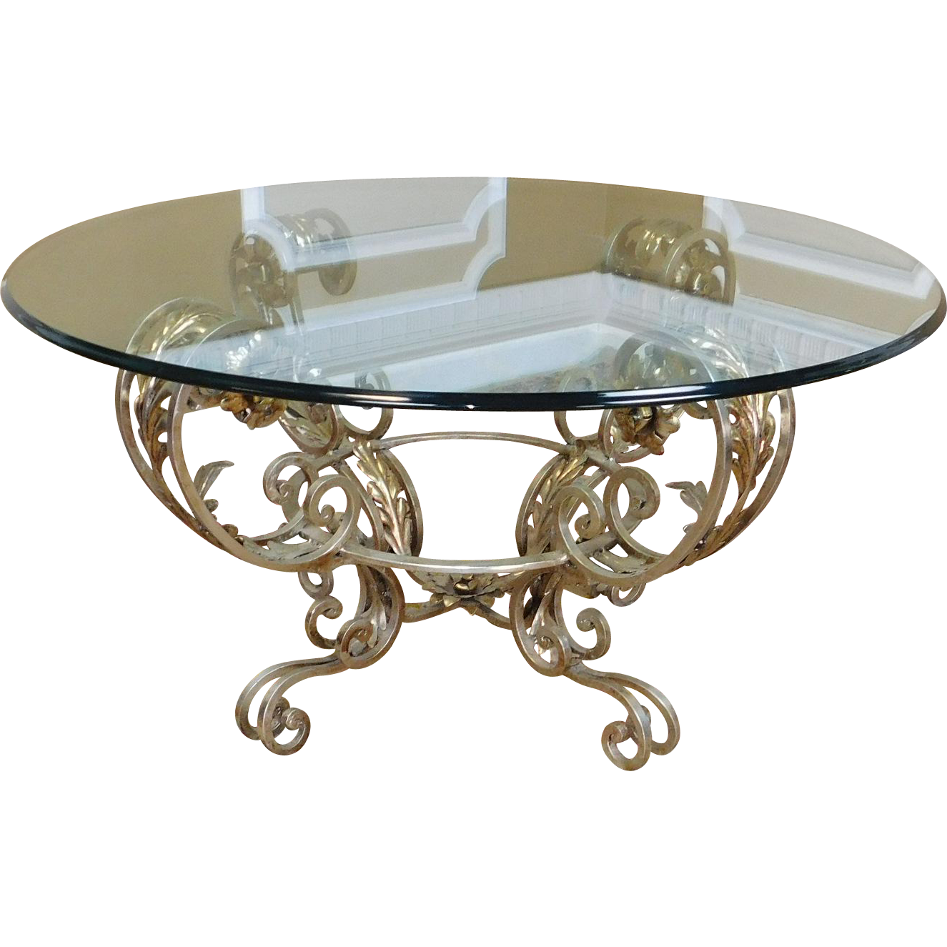 Silver Metal And Glass Coffee Table: Contemporary Silver Chrome Colored Metal Base Glass Top 42
