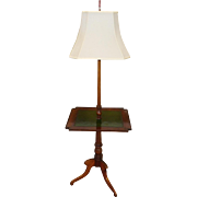 1950s English Sheraton Yew Wood & Leather Top Standing Stick Floor Lamp