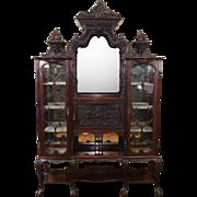 Antique Edwardian Carved Mahogany Etagere Vitrine Cabinet c1900