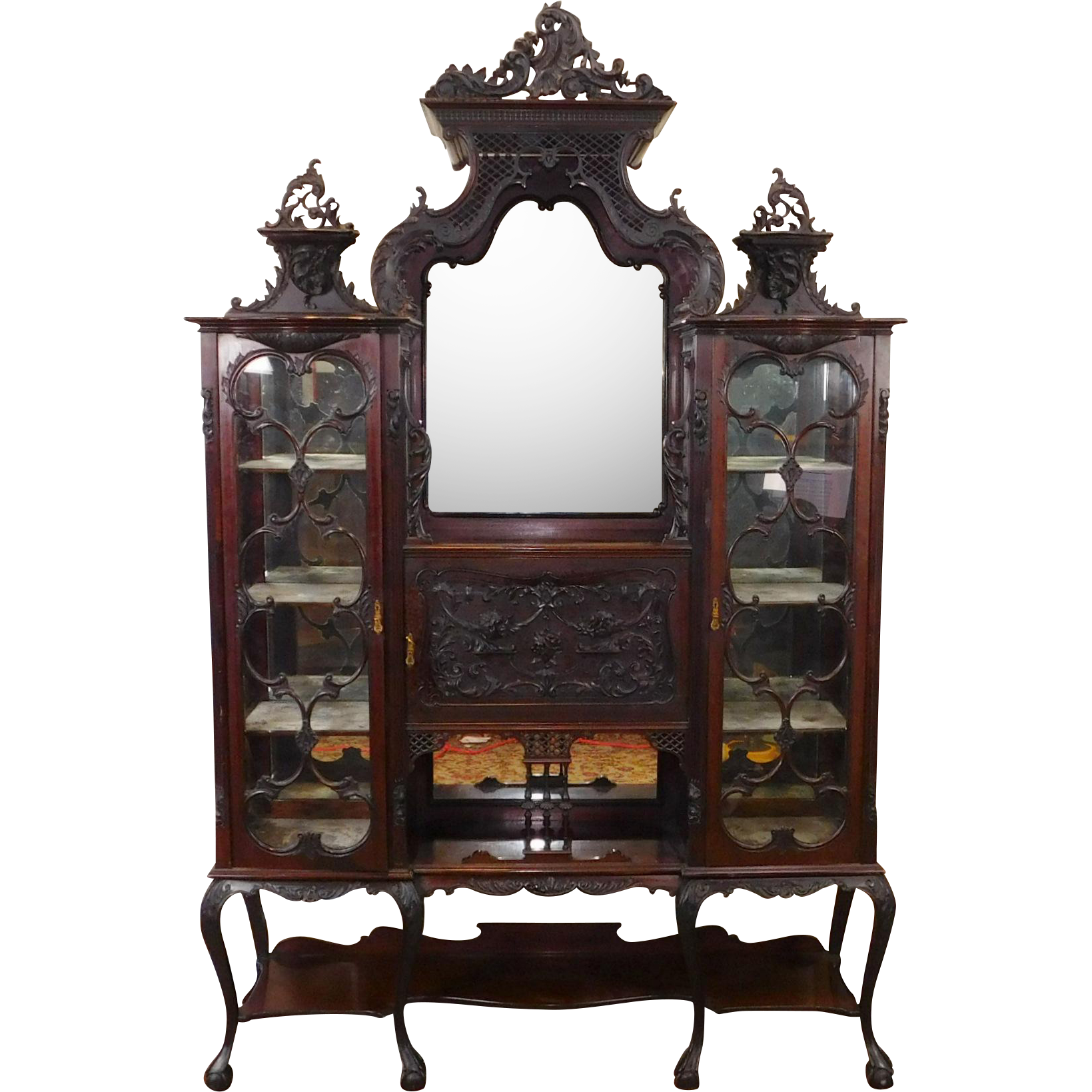 antique edwardian carved mahogany etagere vitrine cabinet. Black Bedroom Furniture Sets. Home Design Ideas