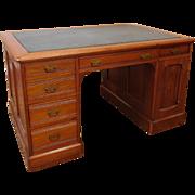 Antique American Victorian Era Eastlake Style Walnut Partners Desk c1880