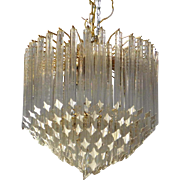 Very Nice Vintage 1980s Venini ~ Camer Glass Crystal Pendant Drop 4 Light Chandelier 19 X 24