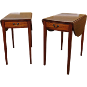 Vintage Pair Mahogany Federal Style Pembroke Drop Side End Tables c1960