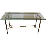 Vintage Iron Base & Glass Top Hallway Console Entrance Way Table c1980s