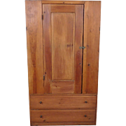 Very Primitive & Rustic Antique American 19th Century Pine Single Door 2 Drawer Pantry Cupboard 1840s