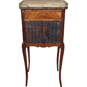 Fine 1920s Inlaid Satinwood French Marble Top Gallery Side Table w/ Faux Book Cabinet Doors