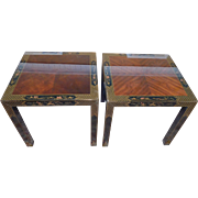 Pair Drexel Heritage Et Cetera Collection Chinoiserie Square Living Room Side Tables, 1980s