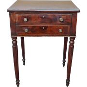 Antique American Sheraton Mahogany 2-Drawer Sewing Table ~ Work Stand c1820