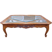 Drexel Heritage Cabernet Collection French Country Glass Insert Coffee Table #390-109-3