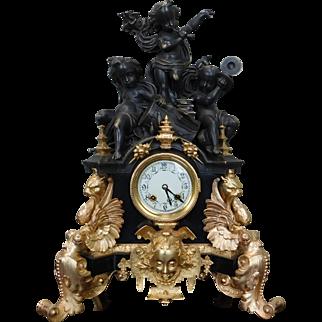 Palatial Reproduction ~ Re-cast Gilt Dore Bronze Cherub Putti Adorned Mantel Clock w/ Porcelain Face
