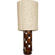 Single Vintage American Modern 1970s Checkered Walnut Tiled Cylinder Table Lamp w/ Mesh Shade