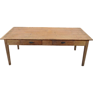 Large Primitive Rustic Pine Dining Room ~ Work Table w/ 2 Drawers ~ Breadboard Ends ~ Plank Top