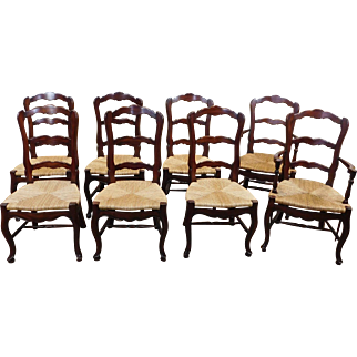 Set 8 Dark Stained Maple French Country Rush Seated Dining Room Chairs c1990s