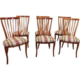 Set 6 Italian Modern Cherry Contemporary Style Flat Spindle Dining Room Side Chairs