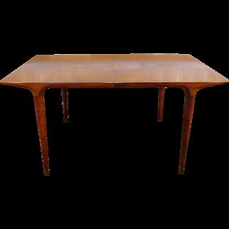 1950s Walnut Lane Furniture Mid Century Danish Style Dining Table w/ 1 Leaf