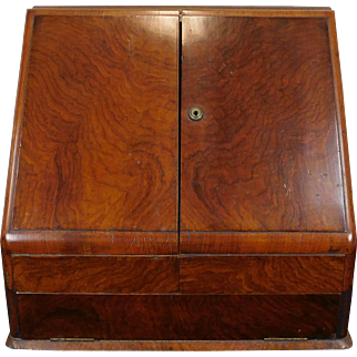 Antique English  Georgian Table Top Mahogany Stationary Document Box Cabinet ~ Enclosed Writing Desk  c1860