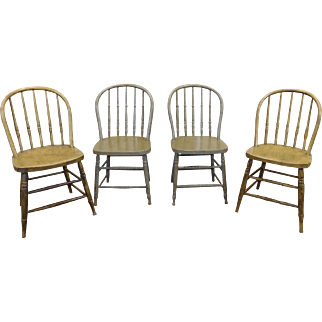 Set 4 Matched Antique Painted Country Hoop Back Spindle Windsor Side Chairs c1890