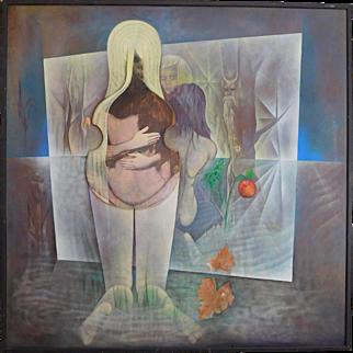 "Cees Brooke (Dutch 1919-2016) ""Adam & Eve"" Oil On Board Painting c1970 49 X 49"