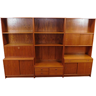"1970s Teak FM ~ JH ""New Furniture"" Made In Denmark Kai Kristiansen Feldballes Møbelfabrik 6-pc Bookcase Wall Unit w/ Drop Desk"