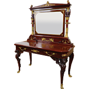 Fine Antique 19th Century French Empire Mahogany & Gilt Bronze Adorned Carved Dressing Table w/ Mirror ~ Restored ~ c1840