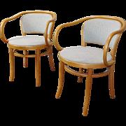 Pair Vintage 1980s Beechwood August Thonet Bentwood Le Corbusier B9 33 Armchair ~ Upholstered