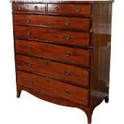 Antique Mahogany English Early 19th Century Georgian Period 7 Drawer Chest Of Drawers c1830