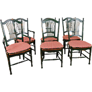Set Of 6 Painted Green Caned Seat Sheaf Back Kitchen Dining Room Chairs c1990s