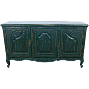 Custom Painted Crackle & Distressed Green French Provincial Country Dining Room Buffet Cabinet