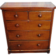 Antique American Empire Victorian Transitional Period 2 over 3 Bedroom Chest Of Drawers c1840