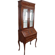Very Nice Petite 1980s Imported Rosewood Slant Top Secretary Desk Bookcase