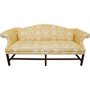 Finely Upholstered Mahogany Framed Chippendale Style Camelback Sofa c1980s