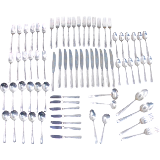 Vintage 1960s 74 Piece Sterling Silver Gorham Camellia Flatware Set ~ 5pc Place Setting For 12 + Serving ~ 107 Oz T