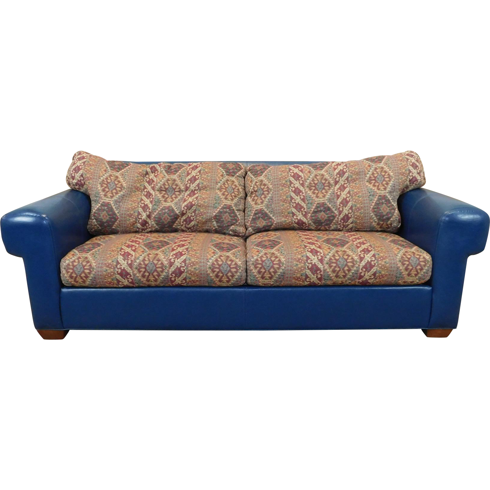 Comfortable Blue Leather Upholstered Ethan Allen