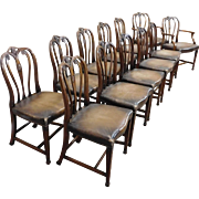Fantastic Set 12 1930s Carved Mahogany Sheraton Style Dining Room Chairs w/ Leather Seats
