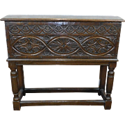 Antique 19th Century Carved English Tudor ~ Welsh Walnut Coffer Box On Turned Stand c1880