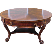 "Maitland-Smith Banded Mahogany Round 36"" Diameter Coffee Table w/ Carved Base & Single Drawer"