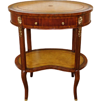 Maitland Smith #3040-003 Light Mahogany and Sienna Leather Two Tier Side Table - Brass Mounts