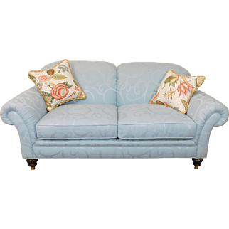 Very Fine Blue Upholstered Edward Ferrell ~ Lewis Mittman Cromwell Loveseat #SF 183P