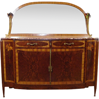 Beautiful Antique French Marble Top Inlaid Art-Nouveau Palisander & Birds Eye Maple Sideboard w/ Decorative Mirror c1910