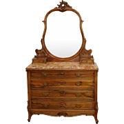 Antique French Louis XV Style Carved Walnut Marble Top Commode Chest w/ Mirror c1900