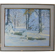 Signed & Framed Oil On Canvas Winter Landscape Painting ~ Chauncey M. Adams (American 1895-1965)