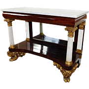 Antique 19th Century Mahogany Neoclassical Empire Marble Top Pier Table c1840