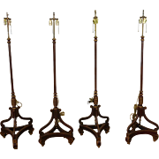 Set 4 Matching 1930s Wood Painted And Gilt Stenciled Regency Style Double Socket Standing Floor Lamps